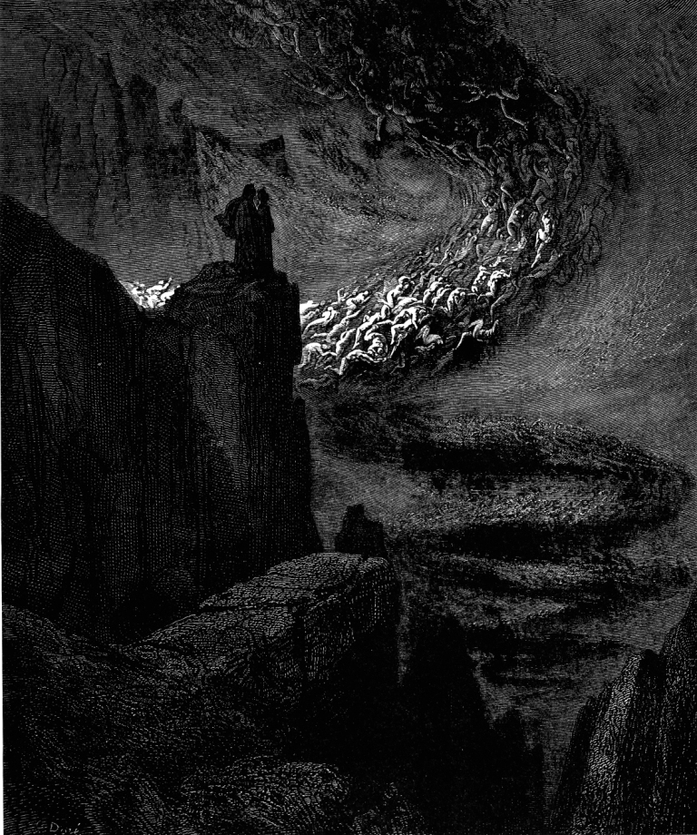 Hellish Hurricane engraving by Gustave Doré