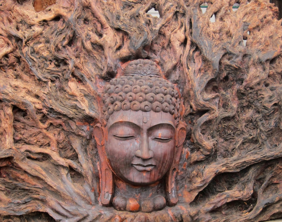 Buddha carved in tree