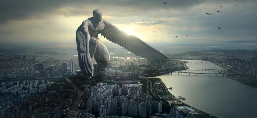 Fantasy of giant city angel