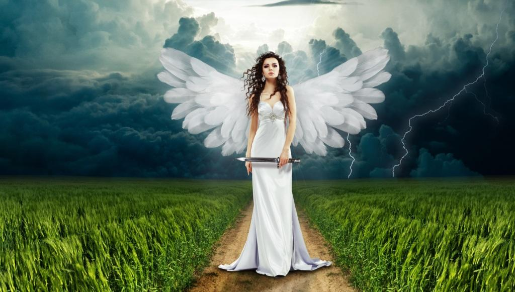 Angel in nature with stormy background