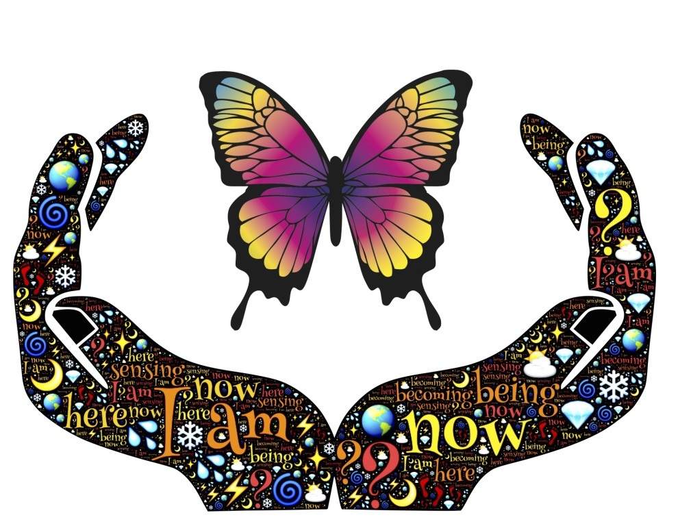Being Here-Now graphic with butterfly