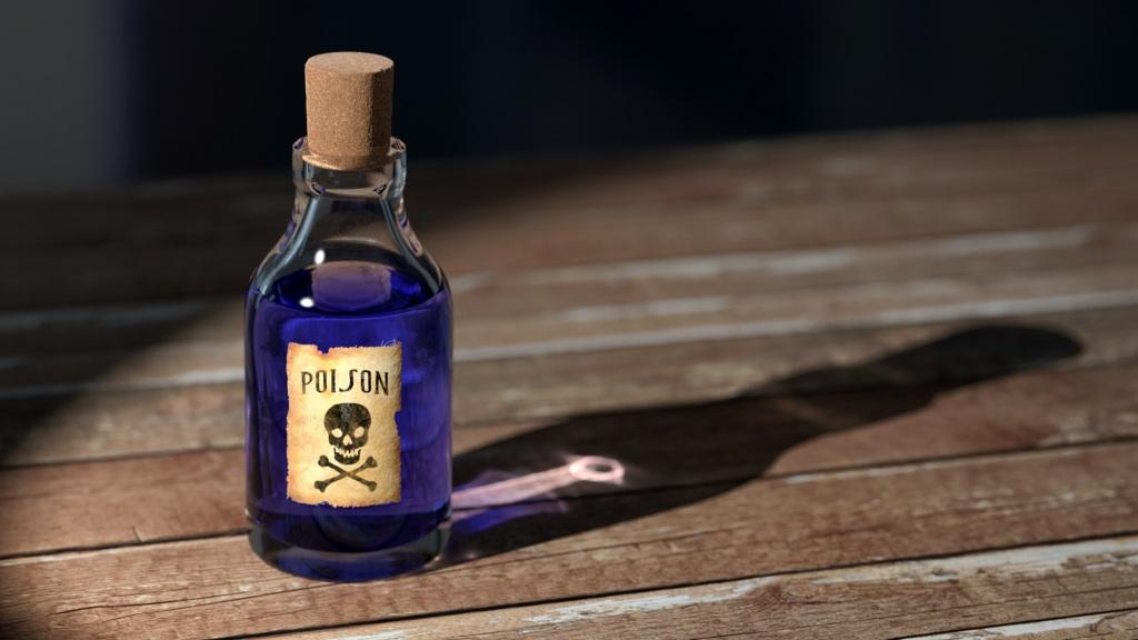Poison bottle on table